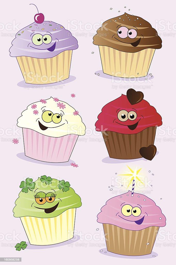 Six Fun Cupcakes royalty-free stock vector art