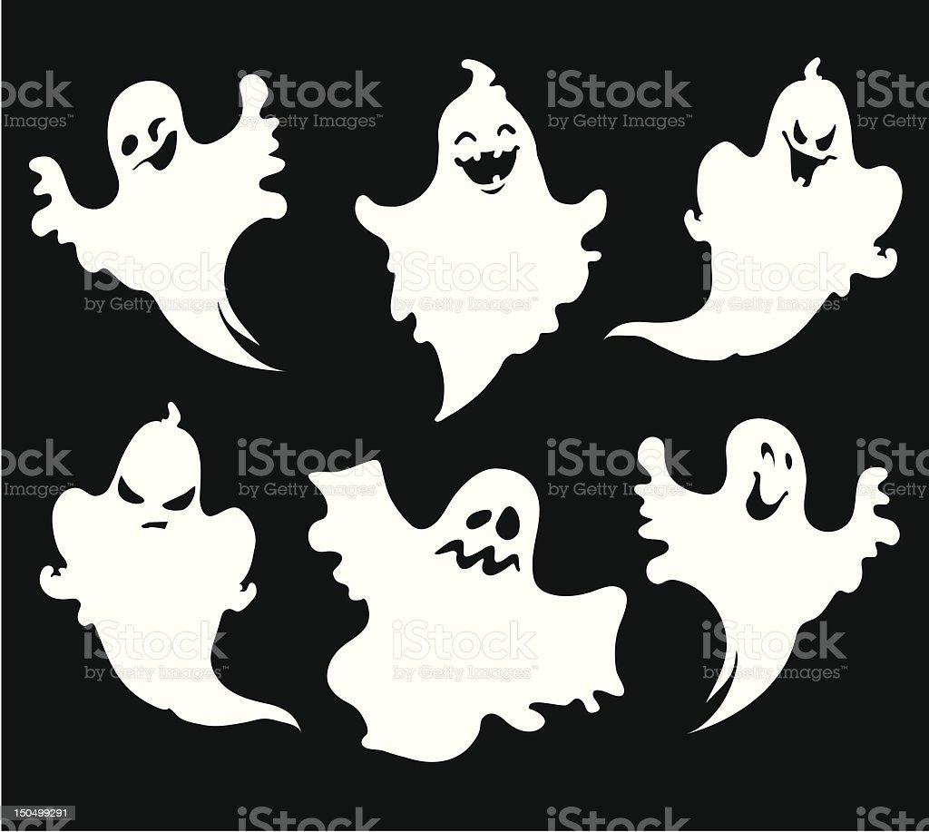 Six Halloween ghosts with black backdrop royalty-free stock vector art