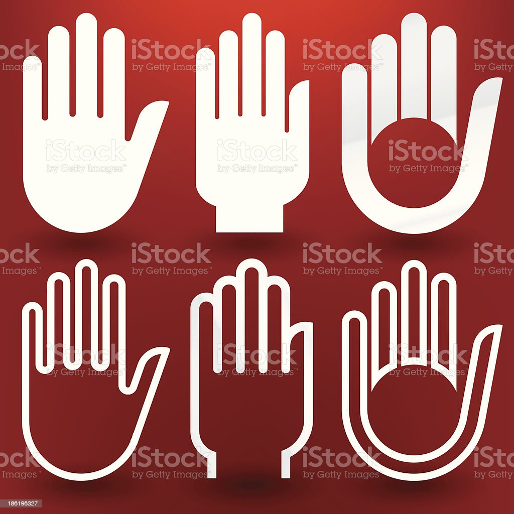 six hands royalty-free stock vector art