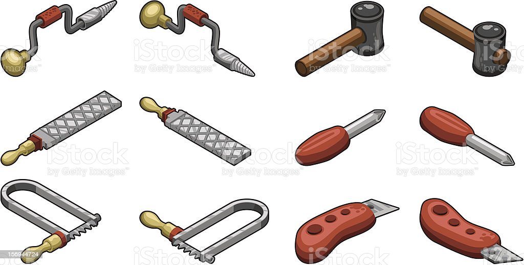 Six handtools: drill rasp saw (isometric vector illustration) royalty-free stock vector art