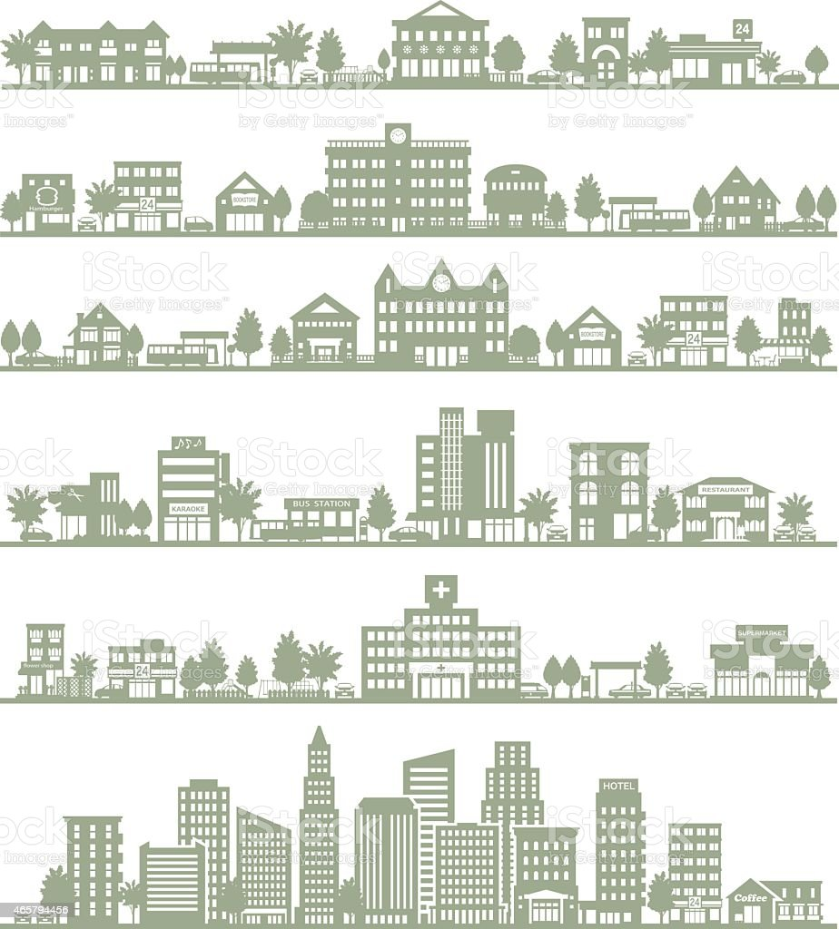 Six horizontal vector panoramas of various cities vector art illustration