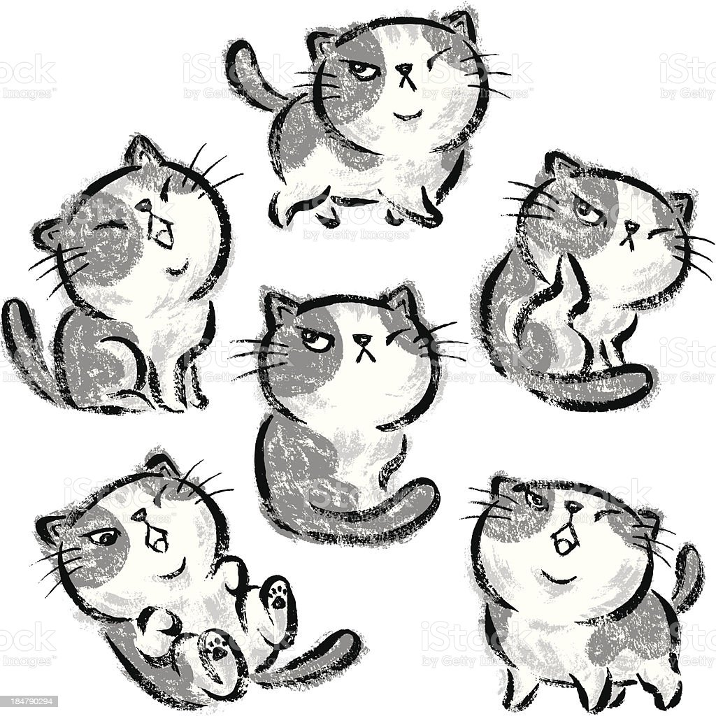 Six Impudent cats royalty-free stock vector art