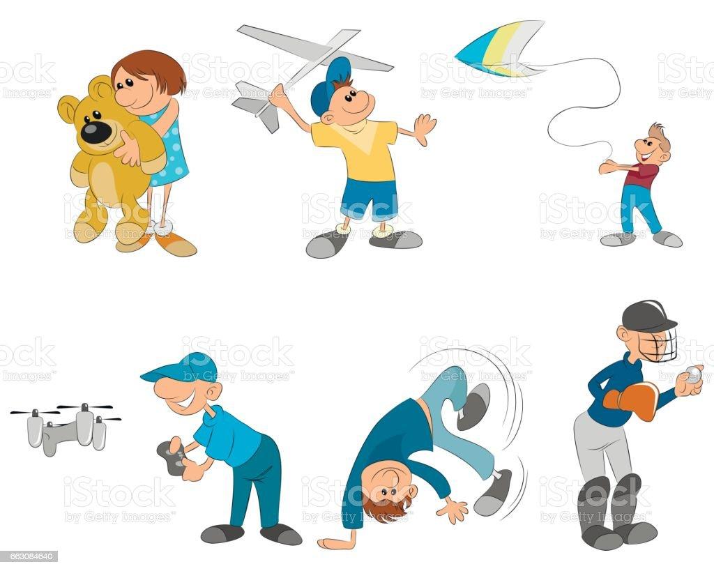 Six kids playing vector art illustration