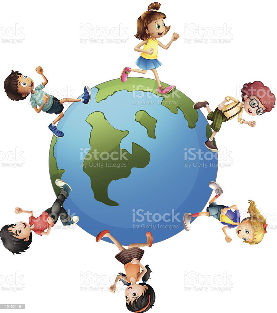 Six kids walking around the planet earth vector art illustration