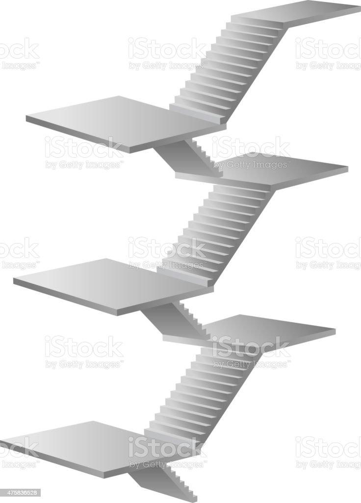 Six layers ladder vector art illustration
