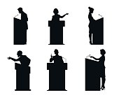 Six lecturers silhouettes