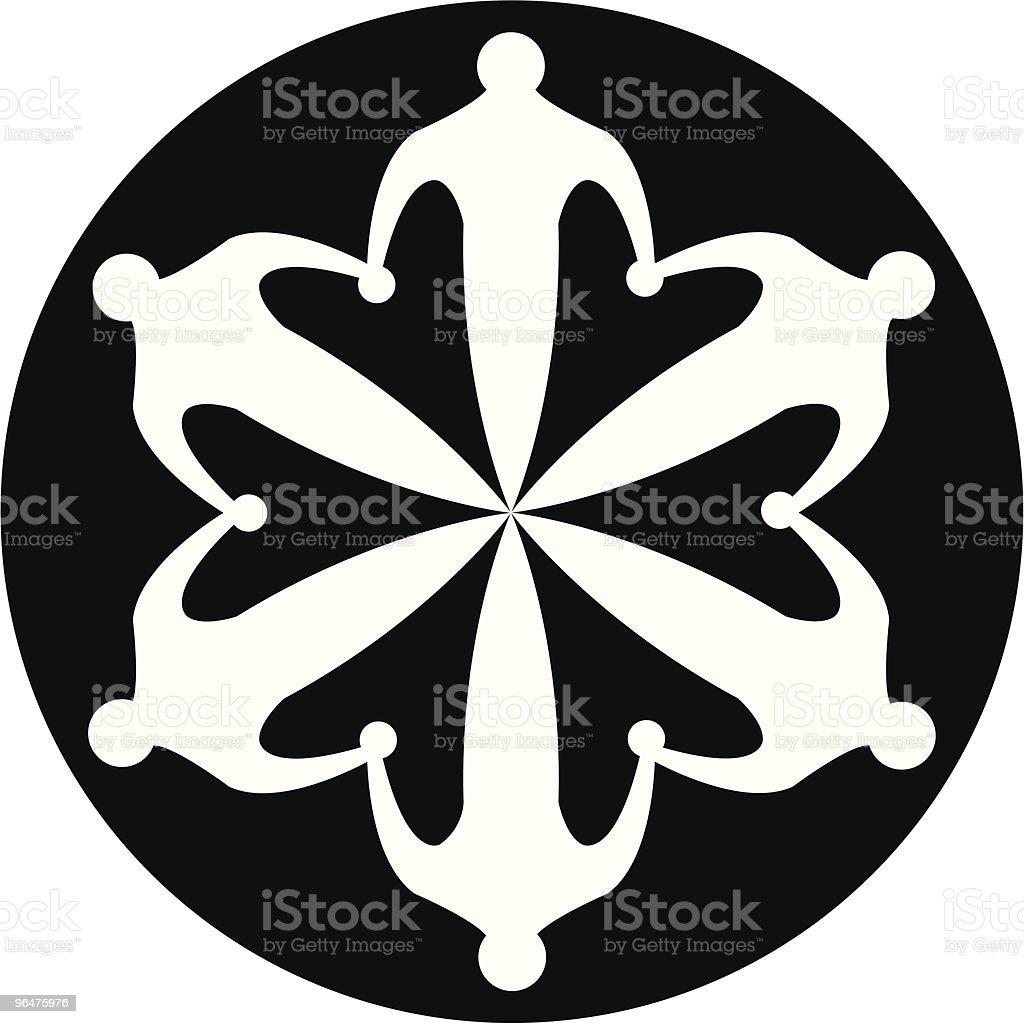 Six linked men Unity icon vector art illustration