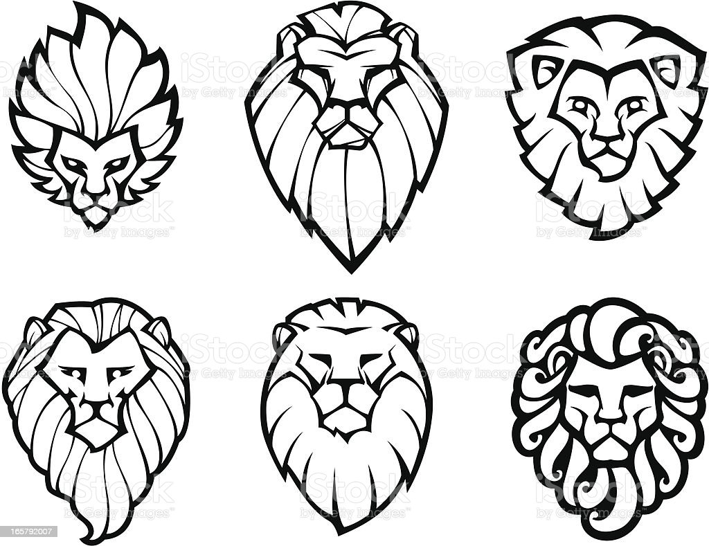 Six lions heads vector art illustration
