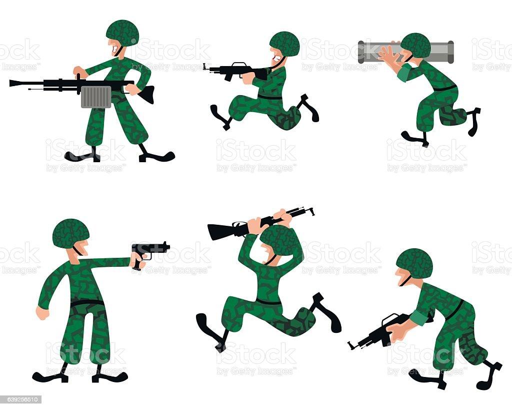 Six military man vector art illustration
