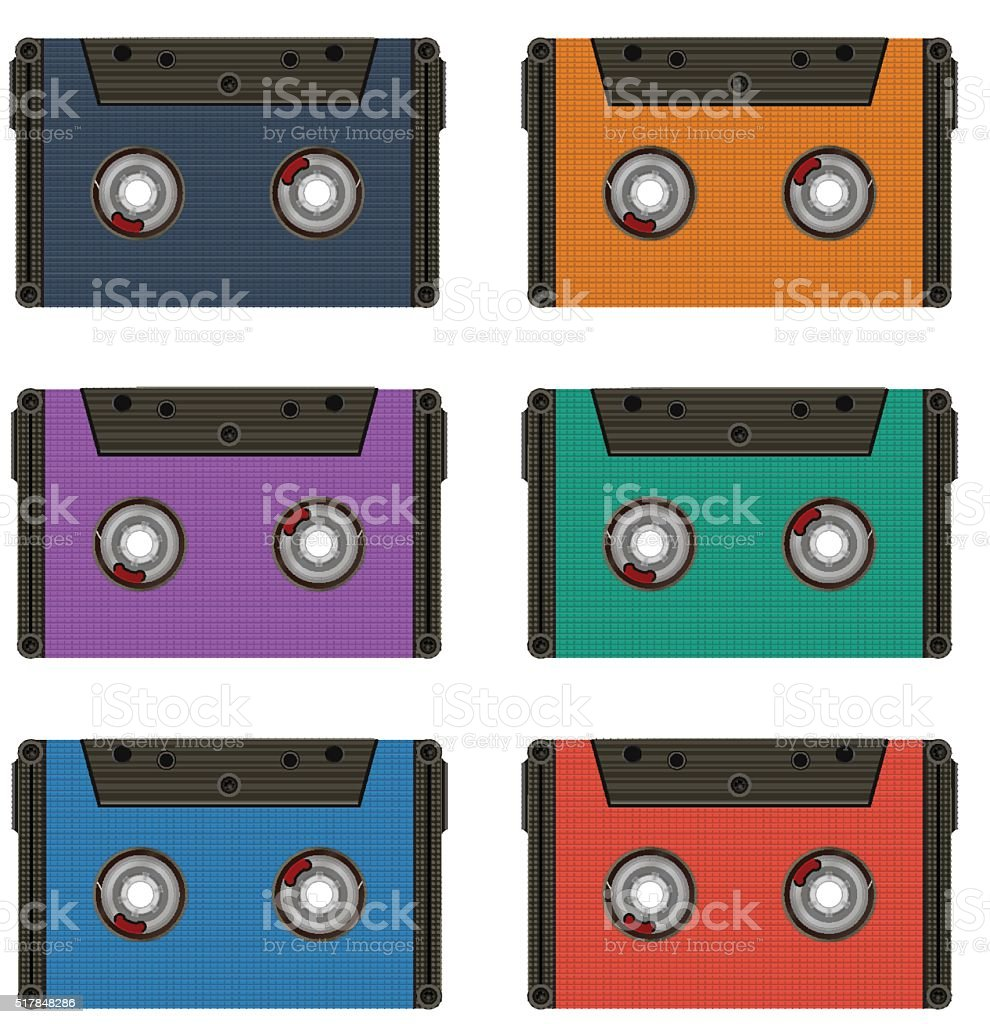 Six multi colored cassettes vector art illustration