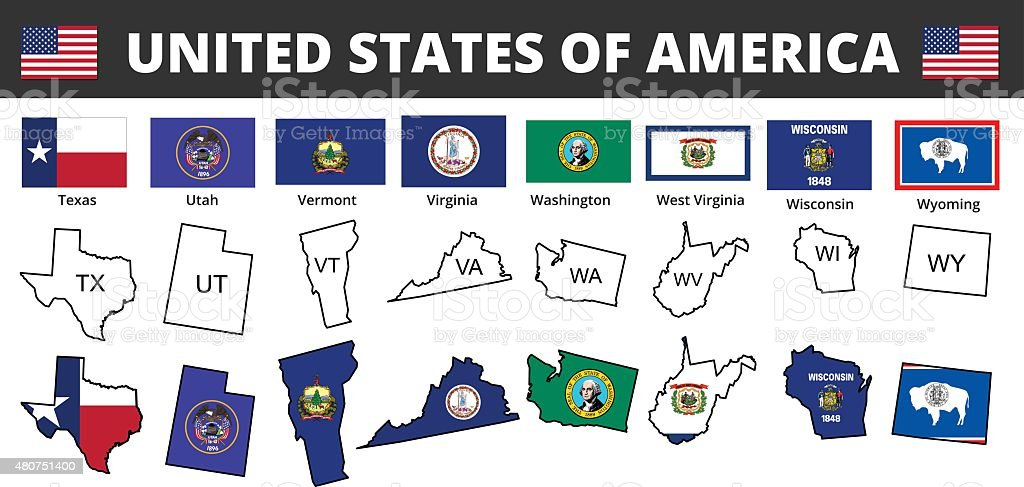 Six Of Usa State Flags And Maps Stock Vector Art IStock - Us map with state flags