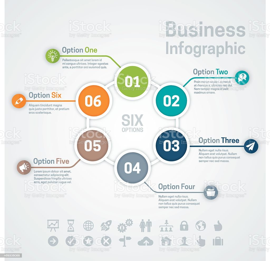 Six Option Business Infographic Chart vector art illustration