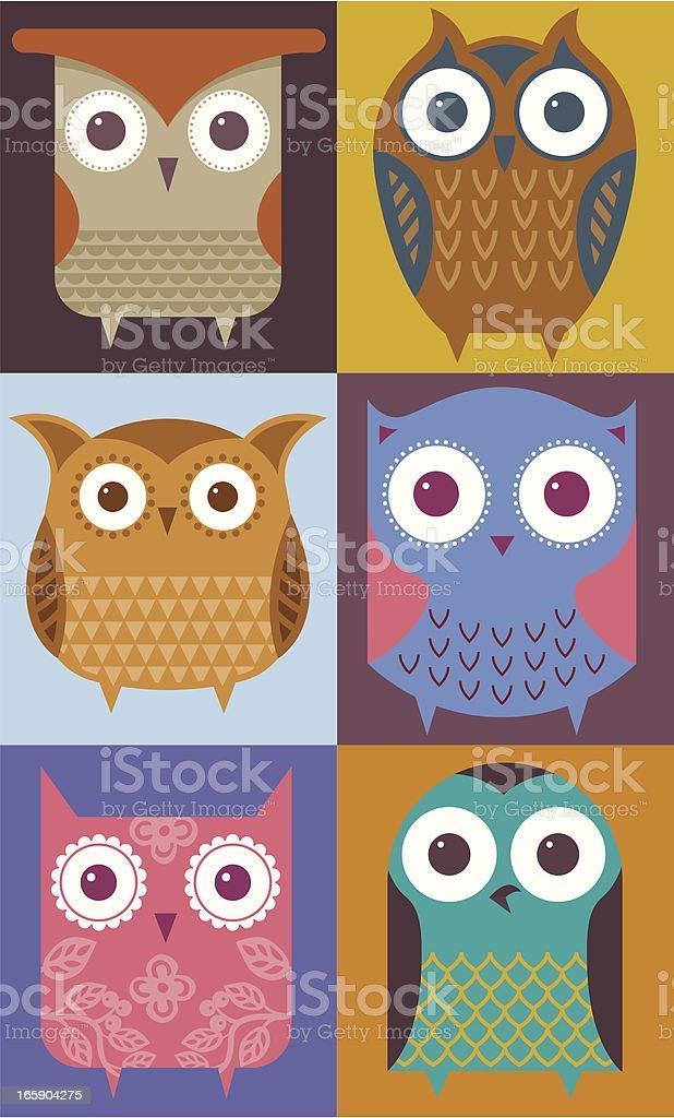 Six owls royalty-free stock vector art