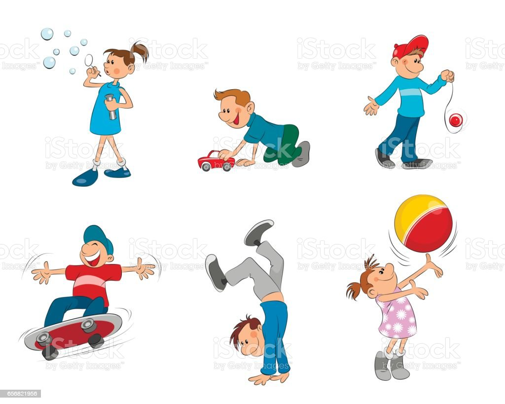 Six playing kids vector art illustration