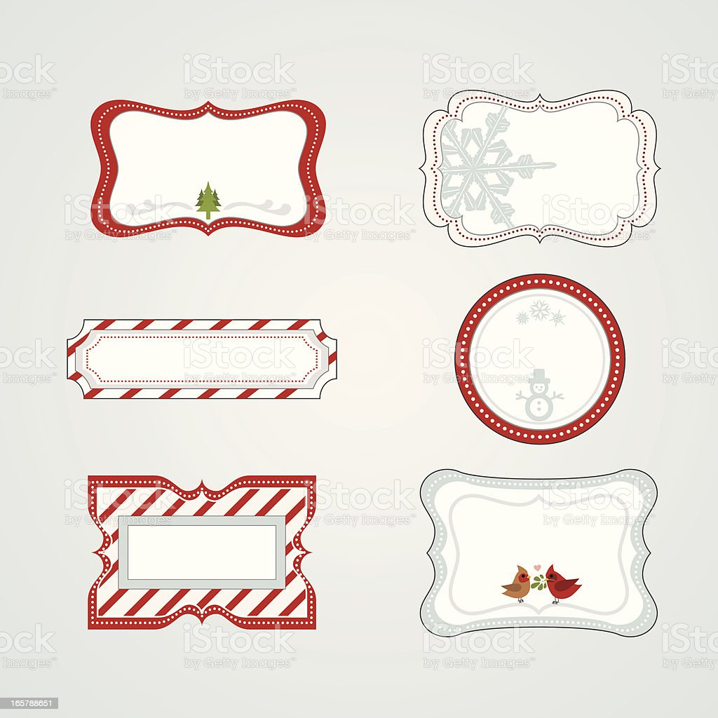 Six pretty Christmas gift tags royalty-free stock vector art