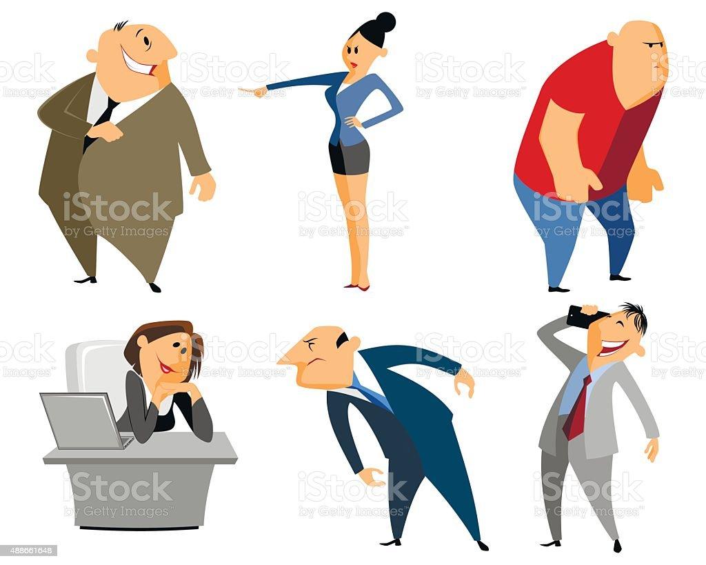 Six profession people vector art illustration