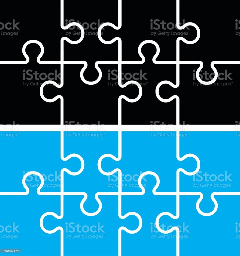 six puzzles vector art illustration