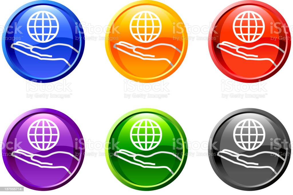 Six, round multicolored icons with a hand holding a world.  royalty-free stock vector art