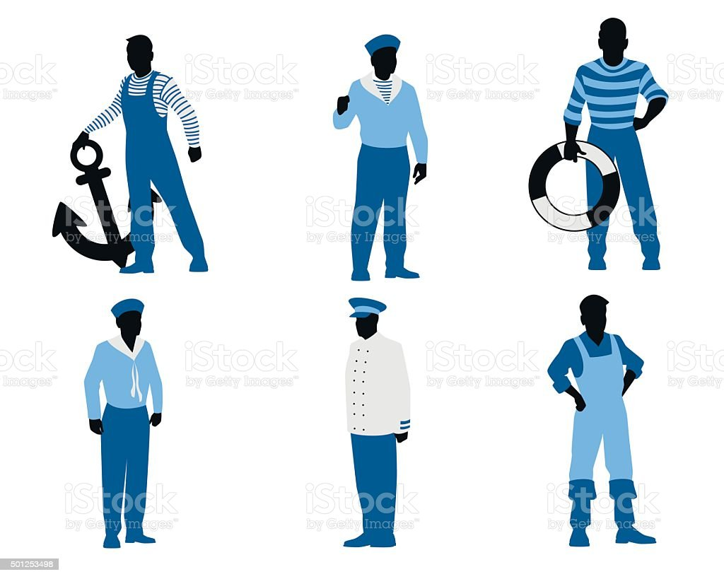 Six sailors silhouettes vector art illustration