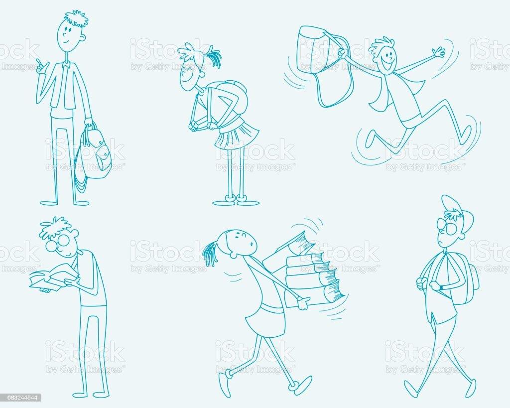 Six schoolchild set vector art illustration