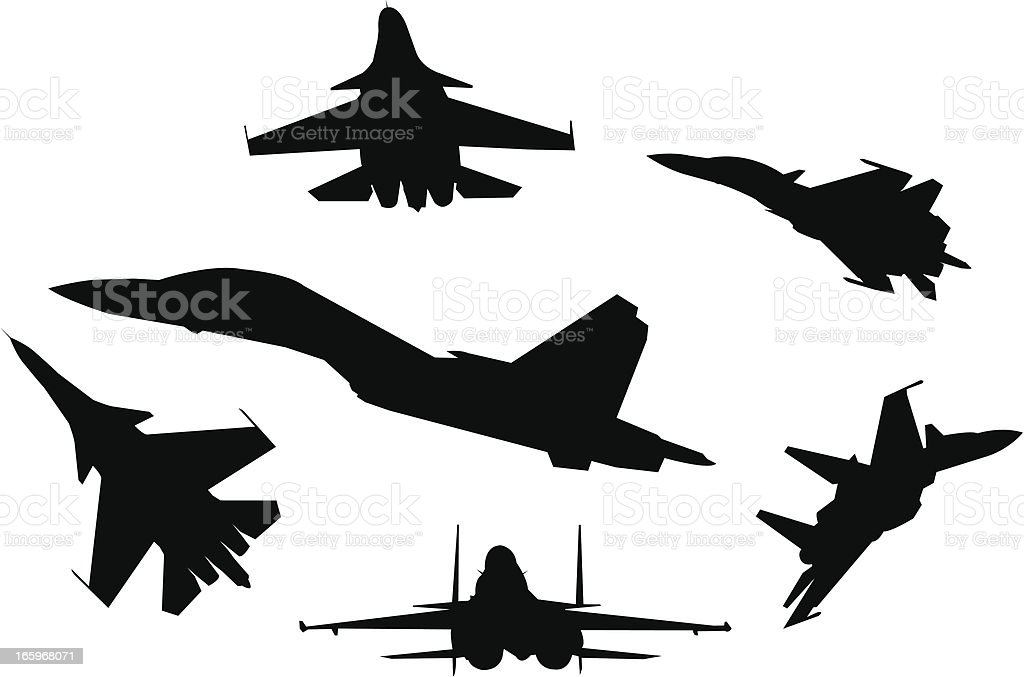Six silhouettes of fighter planes vector art illustration