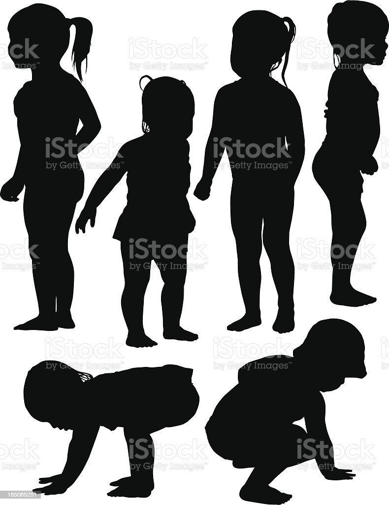 Six silhouettes of toddlers playing at a water park royalty-free stock vector art