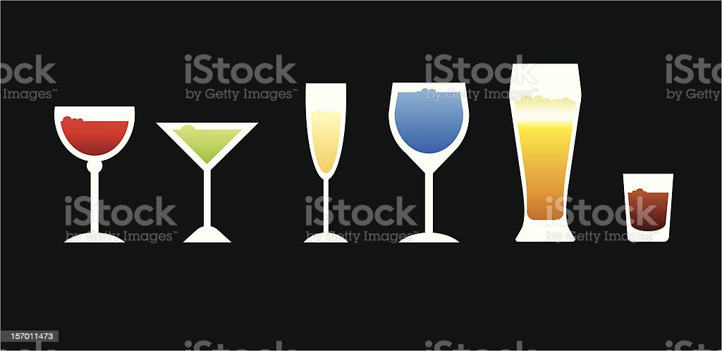 Six simple vector glasses royalty-free stock vector art