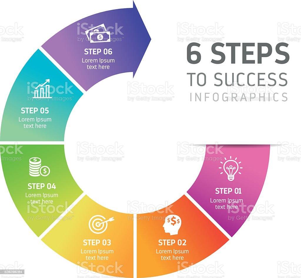 Six Steps Infographics - Success vector art illustration