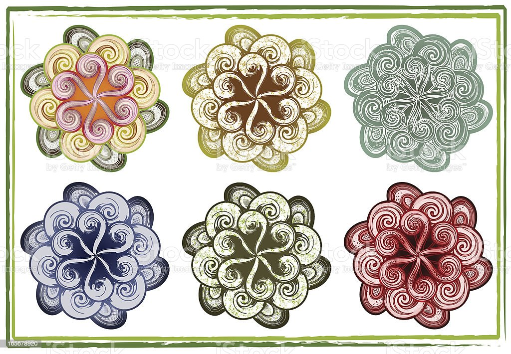 six swirly flowers royalty-free stock vector art
