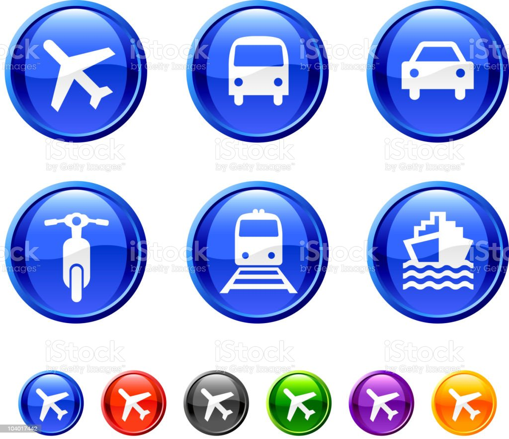 Six transportation icons against a white background royalty-free stock vector art