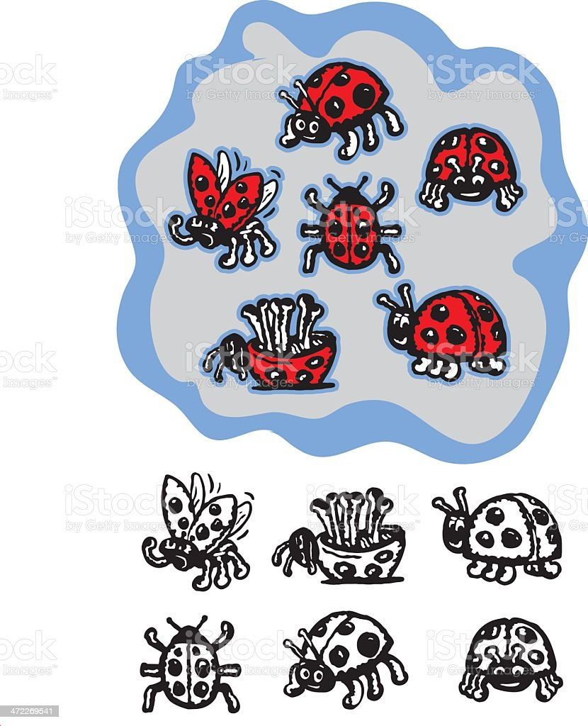 Six Vector Ladybugs royalty-free stock vector art