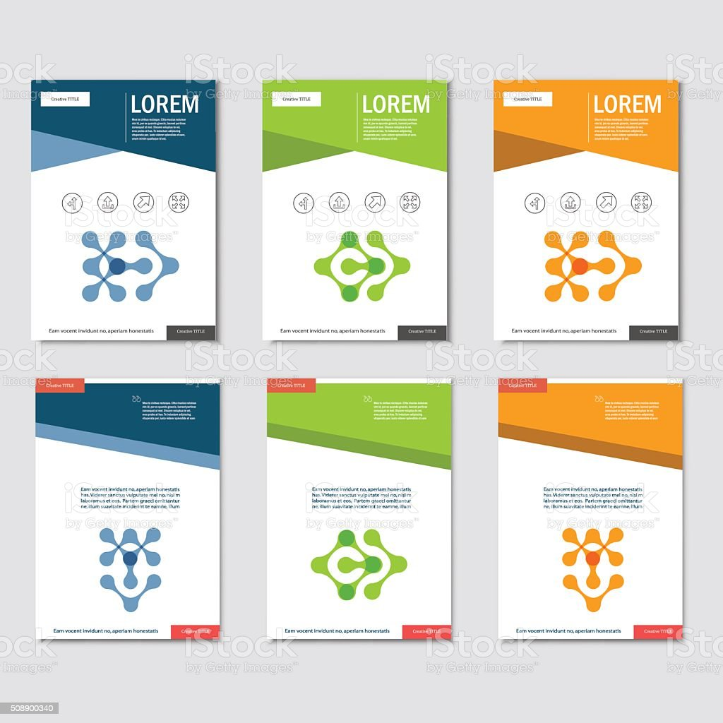 Six vector pattern with abstract figures. Brochures template vector art illustration