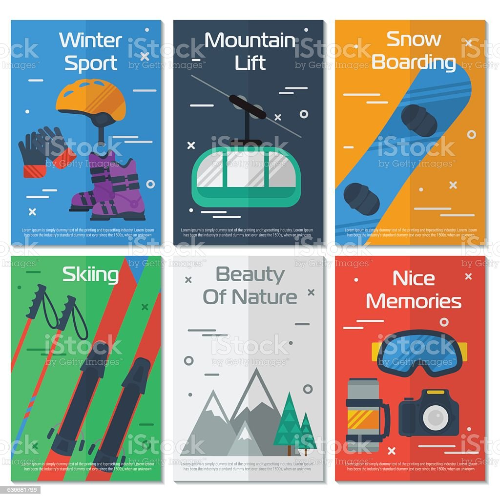 Six vertical banners mounting winter sport vector art illustration