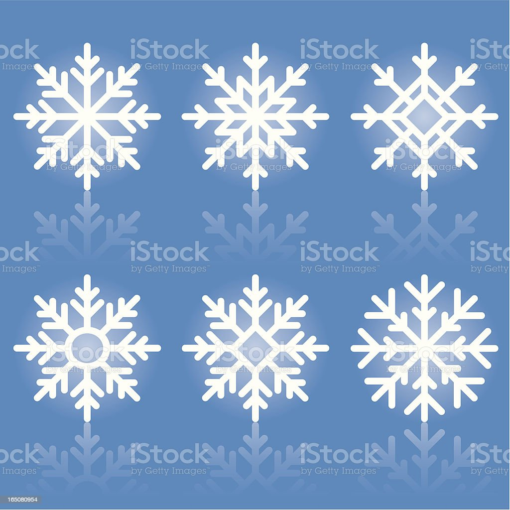 Six white snowflake icons on a blue background royalty-free stock vector art