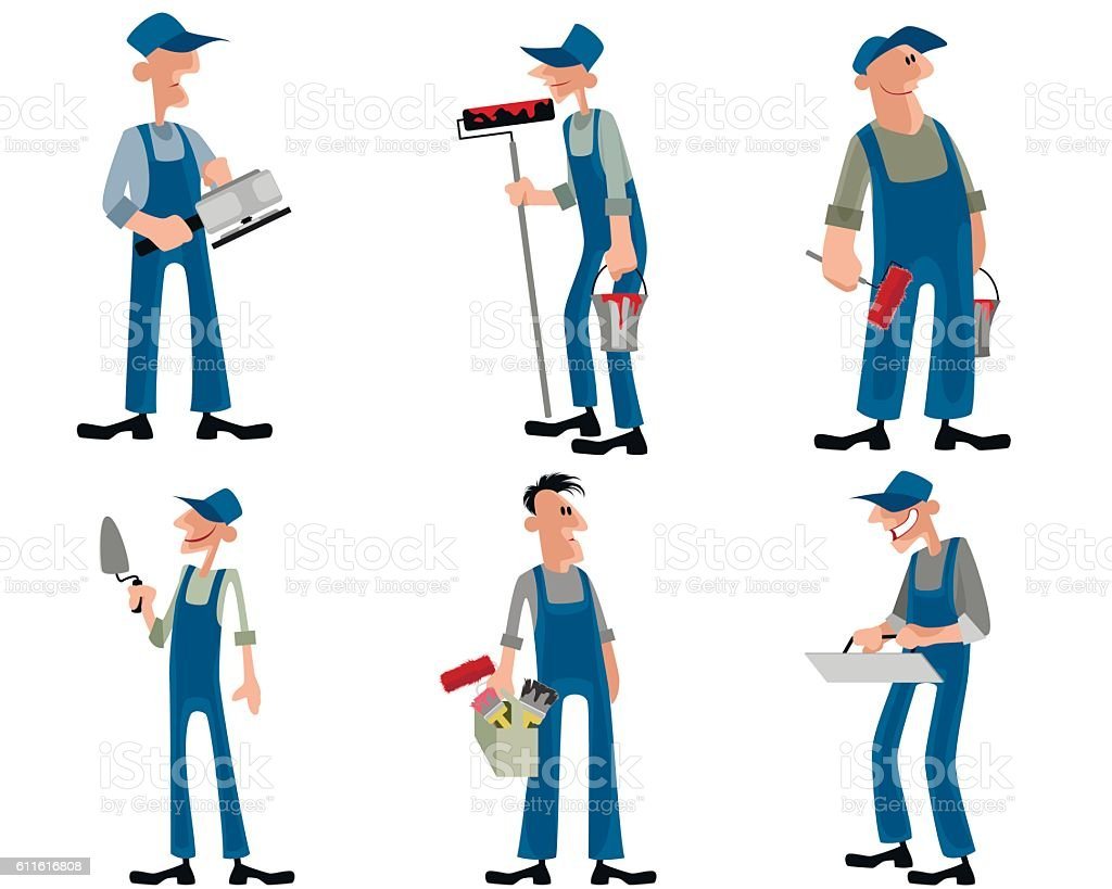 Six workers set vector art illustration