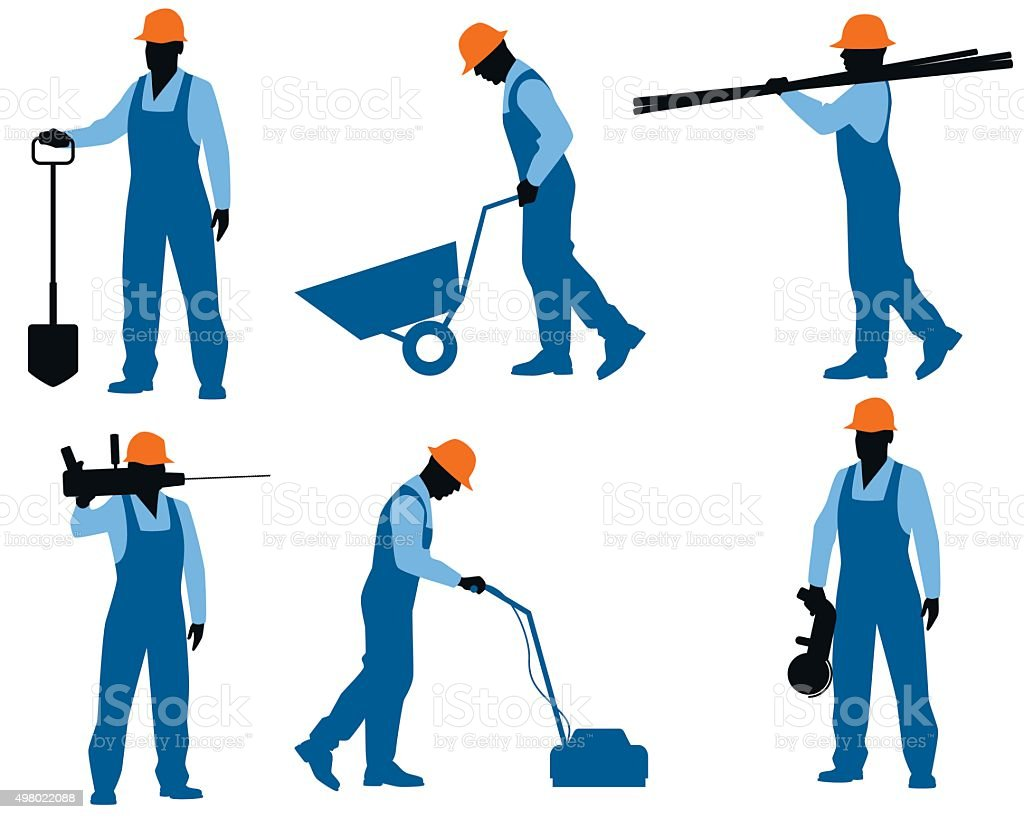 Six workers silhouettes vector art illustration