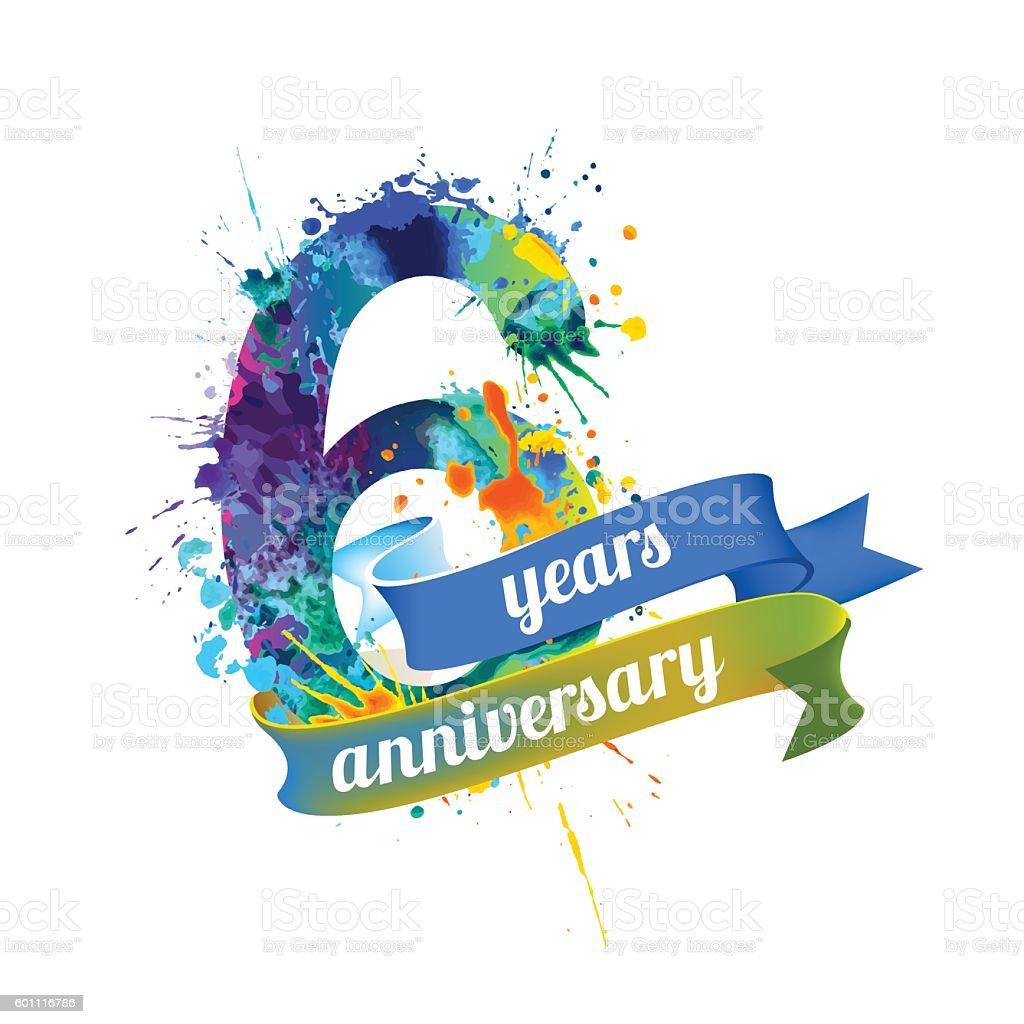 Six (6) years anniversary vector art illustration