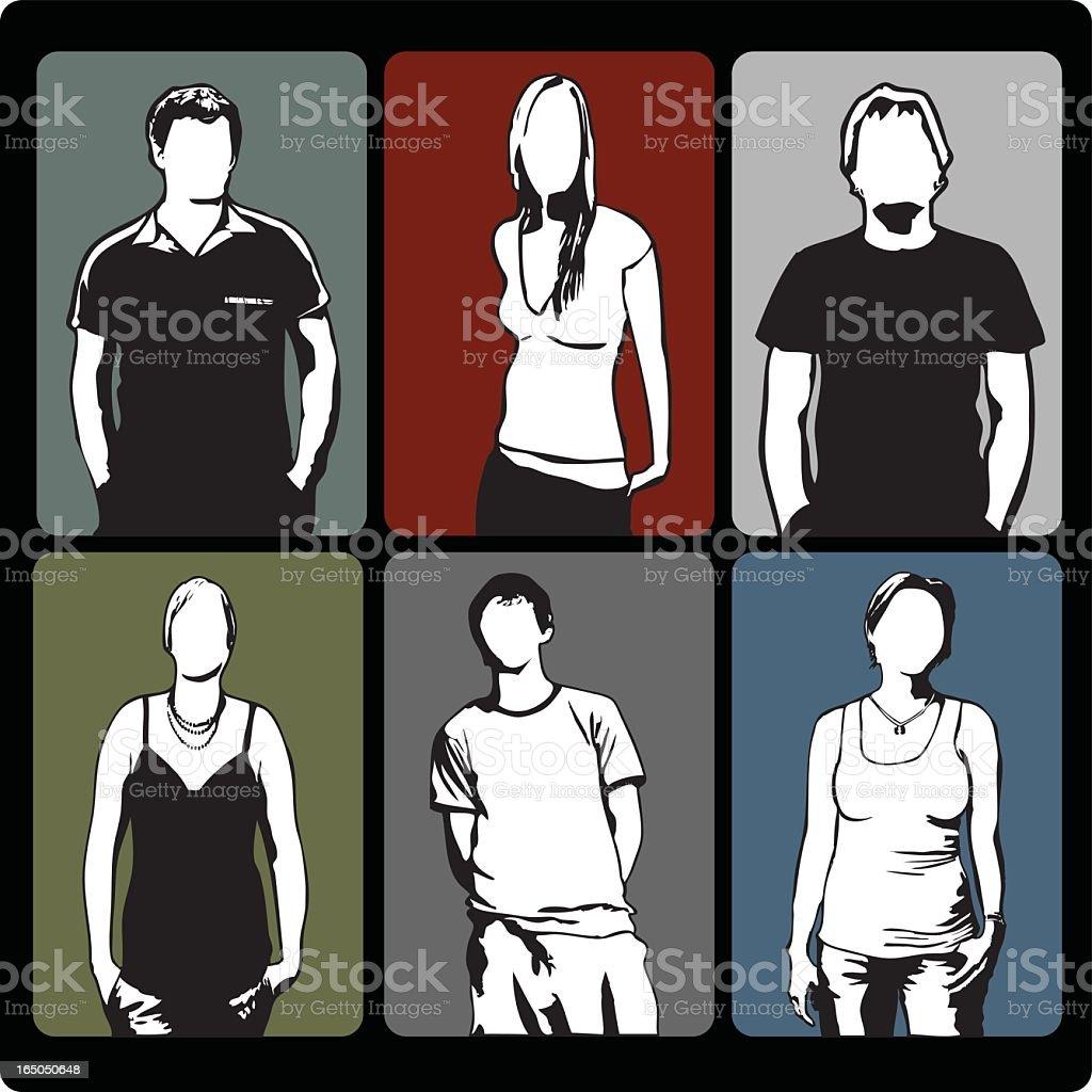 Six youths vector art illustration