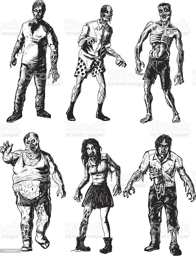 six zombies vector art illustration