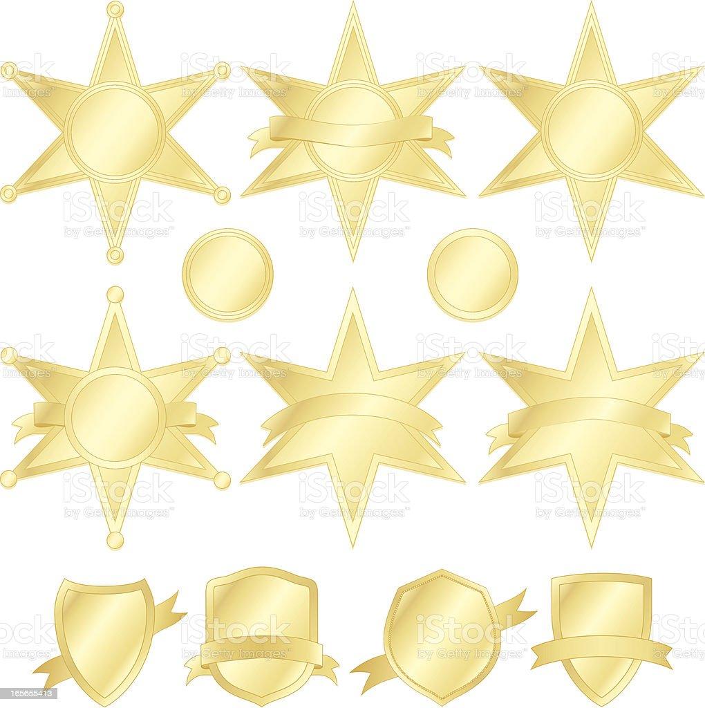Sechs-Punkte-Stars, Polizei Abzeichen und Wappen-Set-Gold Lizenzfreies vektor illustration