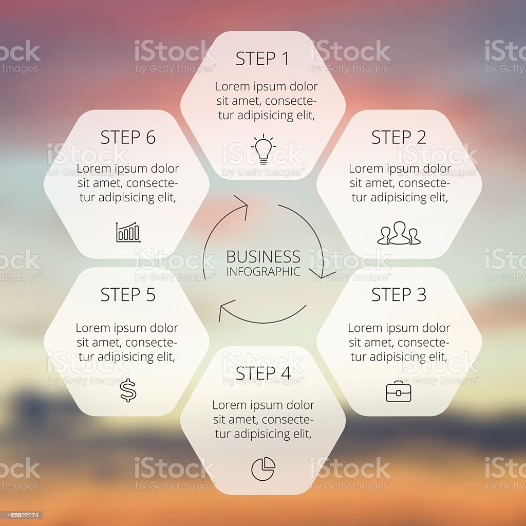 Six-step circular infographic template vector art illustration