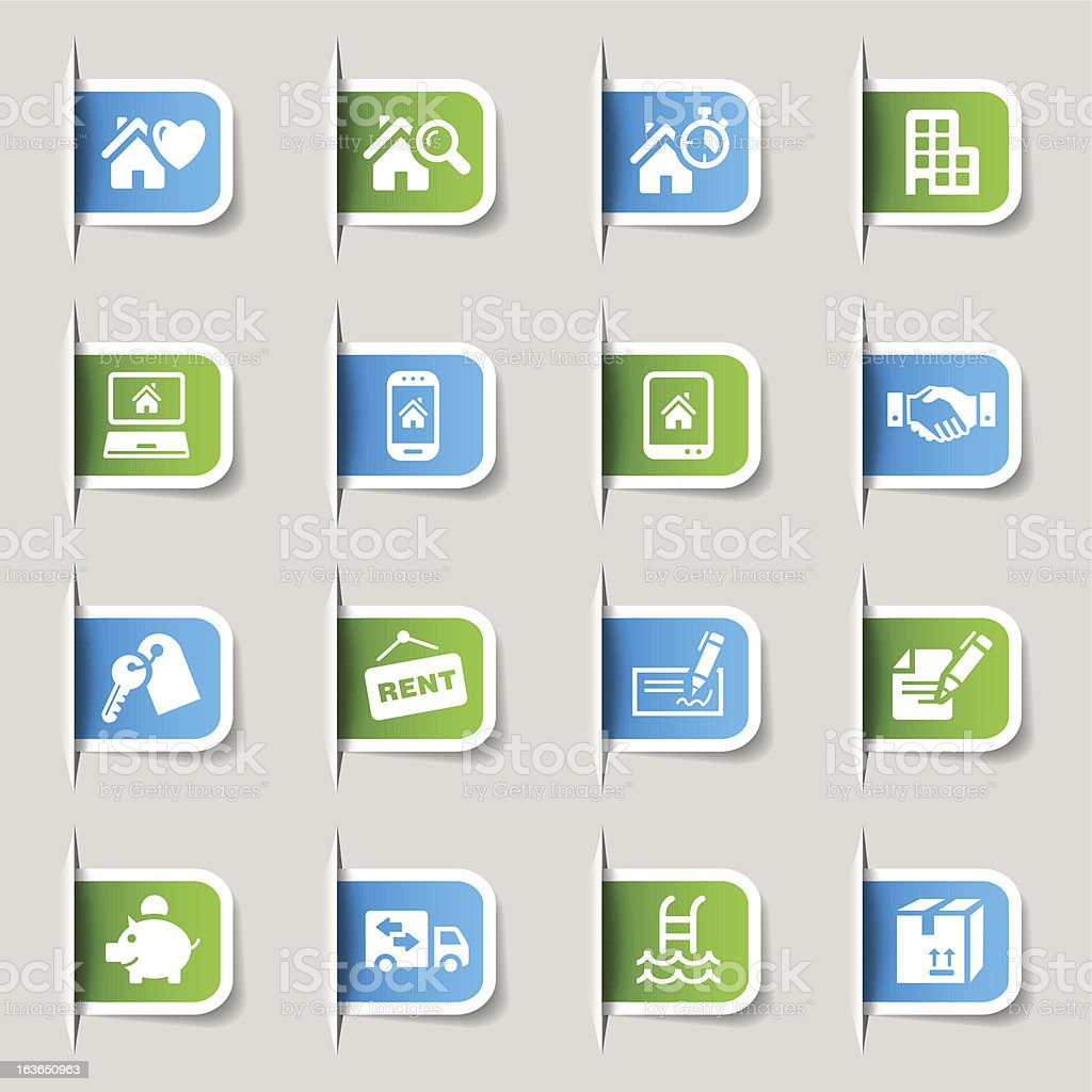 Sixteen blue and green real estate icons royalty-free stock vector art