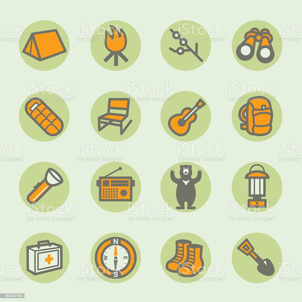 Sixteen camping icons arranged in a square vector art illustration