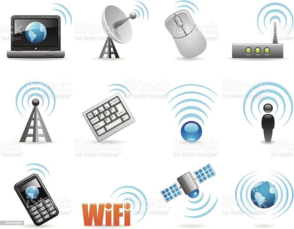 Sixteen cartoon wireless icons royalty-free stock vector art