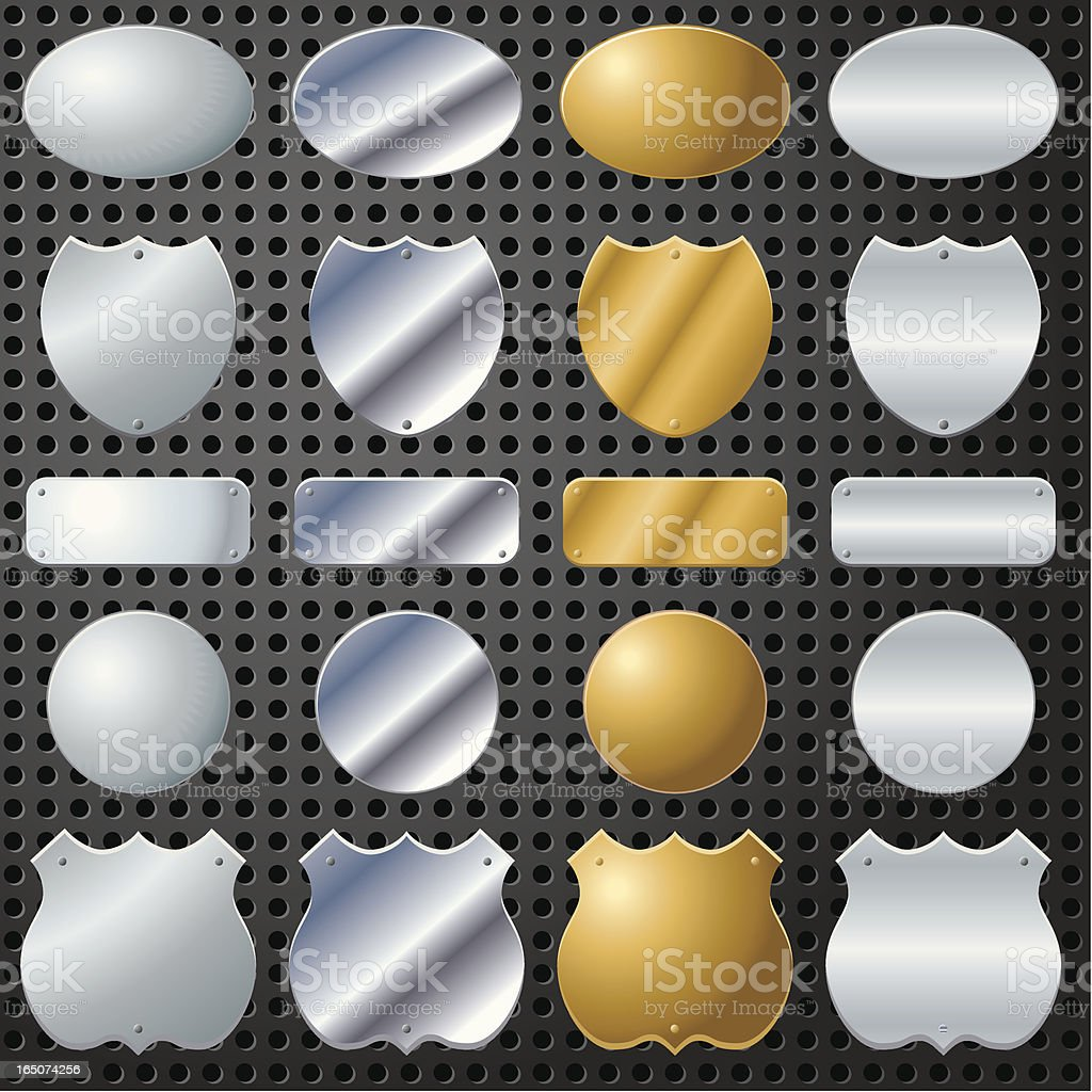 Sixteen Chrome Shields royalty-free stock vector art