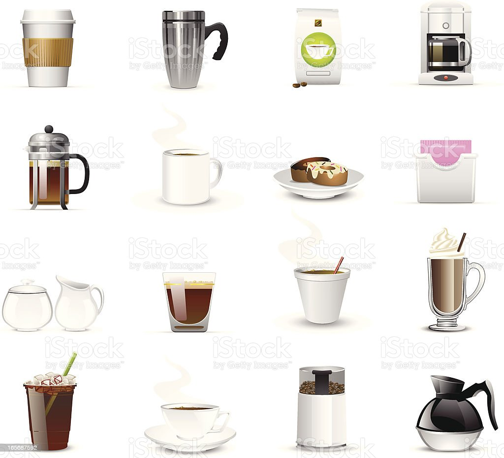 Sixteen coffee related icons and logos vector art illustration