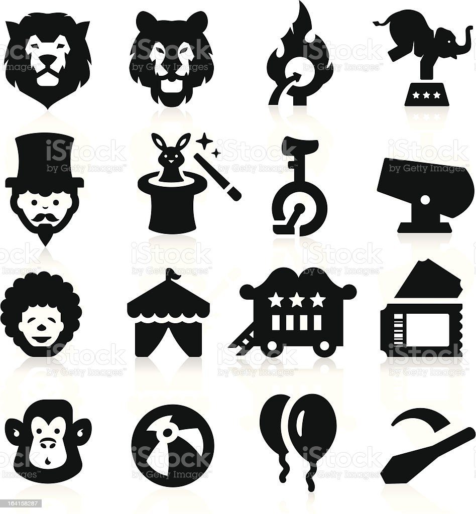 Sixteen different circus icons in black on white background  vector art illustration