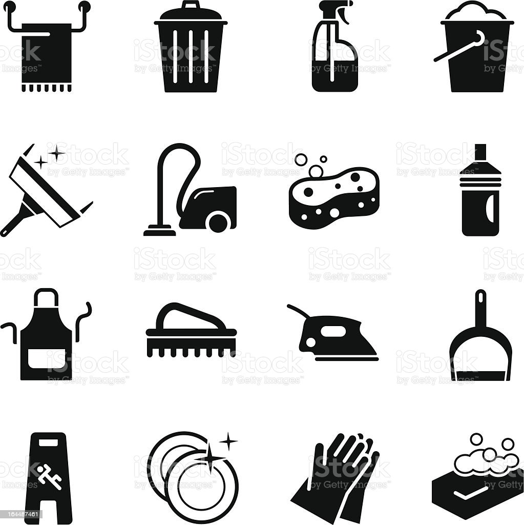 Sixteen different icons that represent cleaning  vector art illustration
