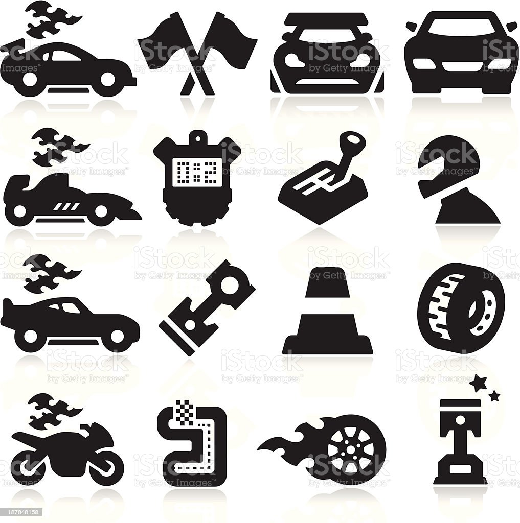 Sixteen different icons that represent racing  vector art illustration