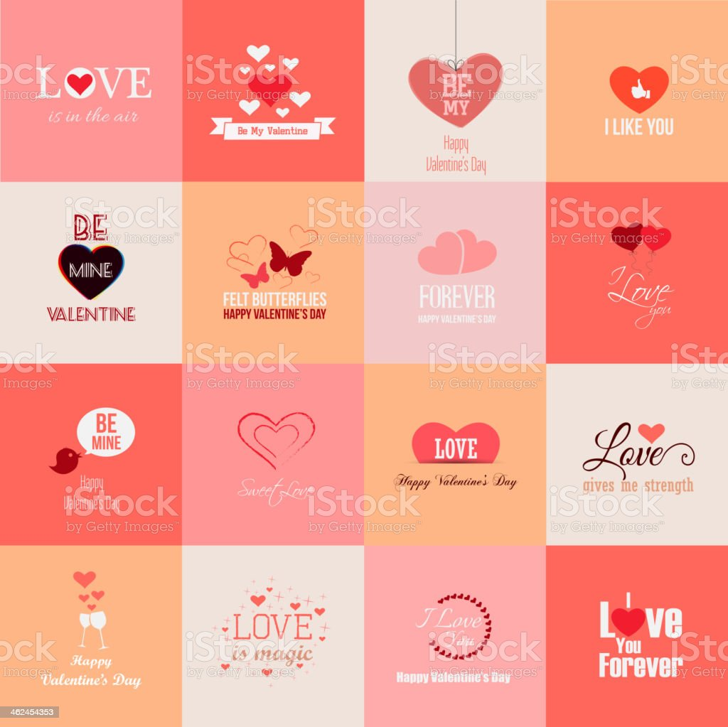 Sixteen different valentines day related images vector art illustration